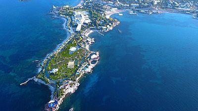 Aerial shot of Greek resort