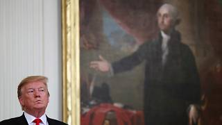 Donald Trump George Washington portréja mellett