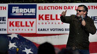 Sen. Ted Cruz, R-Texas, speaks at a campaign rally for Sen. Kelly Loeffler, R-Ga., on Saturday, Jan. 2, 2021, in Cumming, Ga.