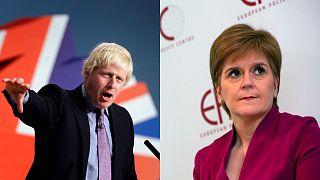 زعيمة الحزب الوطني الاسكتلندي نيكولا ستورجون ورئيس الوزراء البريطاني بوريس جونسون