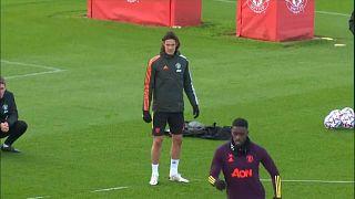 Edison Cavani con su club inglés el Manchester United