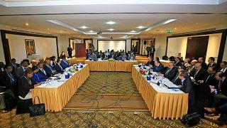 وزراء الري لمصر وإثيوبيا والسودان يشاركون في اجتماع لاستئناف المفاوضات بشأن سد النهضة الإثيوبي الكبير، في العاصمة السودانية الخرطوم، 21 ديسمبر 2019.