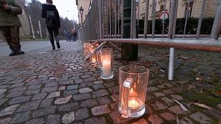 Candles inside beer glasses in protest against the closing of pubs and restaurants in the country.
