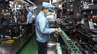 F´´abrica de batería de litio en Huaibei, China. Noviembre de 2020