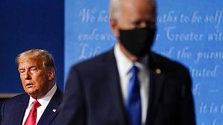 ABD'nin mevcut Başkanı Donald Trump (solda), ABD'nin seçilmiş Başkanı Joe Biden (sağda,flu)