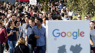 2018 yılında bazı Google çalışanlarının cinsel tacize uğradığını açıklaması sonrası yapılan eylemlerden bir kare. /ABD Kaliforniya.