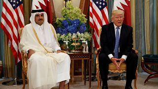 الرئيس الأمريكي دونالد ترامب، يعقد اجتماعا ثنائيا مع أمير قطر الشيخ تميم بن حمد آل ثاني في الرياض، المملكة العربية السعودية، 21 مايو 2017