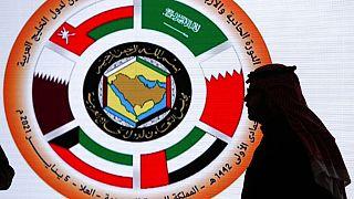 Logo of the 41st Gulf Cooperation Council (GCC) at the media center in at Al Ula, Saudi Arabia