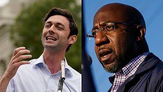 Democrats Jon Ossoff, left, and Raphael Warnock, right, won seats in the Senate in Georgia.
