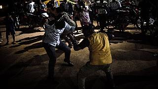 Supporters of Central African President Touadera celebrate win