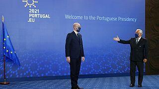 O encontro de Carles Michel com António Costa, no CCB, em Lisboa, marcou formalmente o arranque da presidência portuguesa