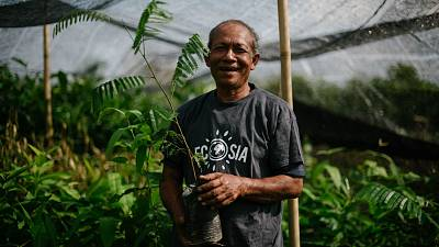 Ecosia, one of the best-known tree-planting campaigns in the world, is a great example of a meaningful and authentic initiative. Pictured: a tree-planter in Indonesia.
