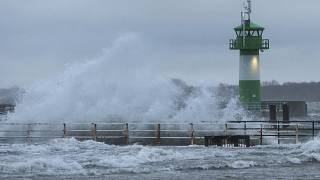 Storm winds bring strong waves to Travemuende on the Baltic Coast in March 2020.