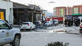 The explosion occurred in front of a restaurant in the town of Ferizaj.