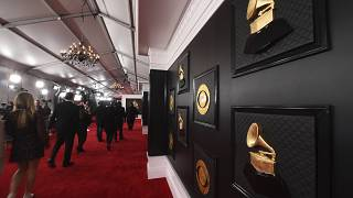 FILE - A view of the red carpet appears prior to the start of the 62nd annual Grammy Awards on Jan. 26, 2020, in Los Angeles.