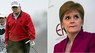 Nicola Sturgeon (right) addressed reports that Donald Trump (left) is planning to come to Scotland to avoid inauguration day