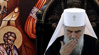 Der Patriarch der serbisch-orthodoxen Kirche Irinej verliest seine Weihnachtsbotschaft in Belgrad, Serbien, 5.1.2012