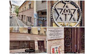 A budapesti Kazinczy utca 55. jelenlegi állapota és díszrácsa egy archív felvételen