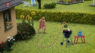 John Dillermand uses his penis to safely tend to a barbeque from afar in the first episode