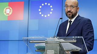 European Council President Charles Michel speaks during a media conference with Portugal's Prime Minister Antonio Costa
