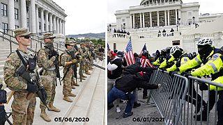 A la izda. despliegue en Utah durante una protesta de Black Lives Matters, en junio. Derecha, irrupción en el Capitolio este miércoles.