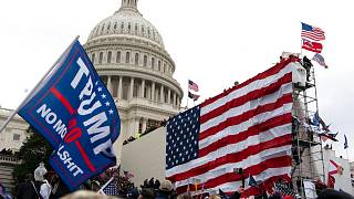 Supporters of President Donald Trump storm the steps of the West side of the the U.S. Capitol on Wednesday, Jan. 6, 2021, in Washington, DC.