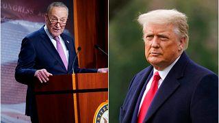 ABD Kongresi Azınlık Lideri Demokrat Chuck Schumer (solda), AB'nin mevcut Başkanı Donald Trump (sağda)