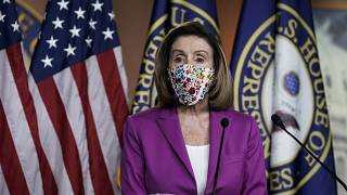 US House of Representatives speaker Nancy Pelosi during her press conference on Thursday afternoon