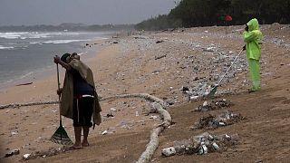 Multidões limpam praias da indonésia