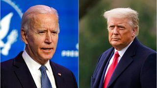 ABD'nin seçilmiş Başkanı Joe Biden (solda) 20 Ocak tarihinde devir teslim töreni sonrası görevine başlayacak.