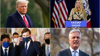 ABD'nin Mevcut Başkanı Donald Trump (sol üstte), Trump'ın kızı ve danışmanı Ivanka Trump (sağ üstte), Trump'ın damadı Jared Kushner (sol alt), Ulusal Güvenlik Robert O Brien