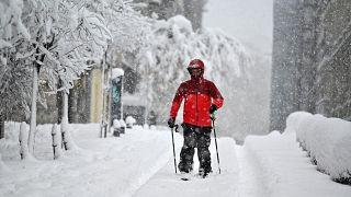 Schifahrer in Madrid