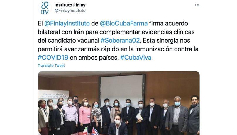 حساب توییتر انستیتو فینلای کوبا