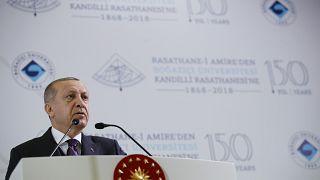 Cumhurbaşkanı Recep Tayyip Erdoğan, Boğaziçi Üniversitesi Kandilli Rasathanesi ve Deprem Araştırma Enstitüsü 150. Yıl Programı'nda konuşurken