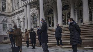 Varios congresistas demócratas este sábado en Nueva York