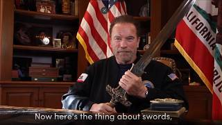 image from a video released by Schwarzenegger shows former Republican California Gov. Arnold Schwarzenegger delivering a public message.