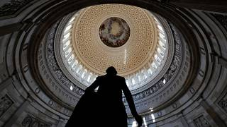 "The fresco of ""The Apotheosis of Washington,"" painted by Constantino Brumidi is seen in through the oculus of the dome."