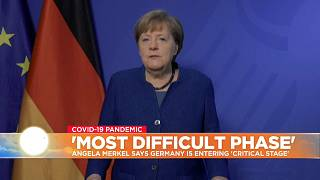 German Chancellor Angela Merkel delivers stark warning