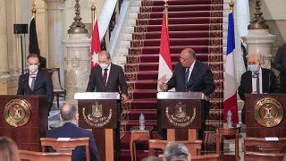 وزراء خارجية مصر والأردن وفرنسا وألمانيا فى بيان مشترك من القاهرة