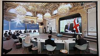 Britain's Prime Minister Boris Johnson speaks during a video conference at the One Planet Summit, part of World Nature Day, at the Elysee Palace, in Paris