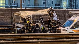The Russian Defense Ministry said that a truck driver lost control of his vehicle and rammed into a convoy of military buses on a motorway.