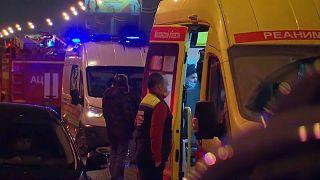 Die Unfallstelle auf einer Autobahn bei Moskau