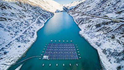Solar power plant on the Lac des Toules, Switzerland