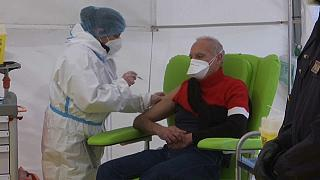 Medical staff in Rome receive Covid-19 vaccinations