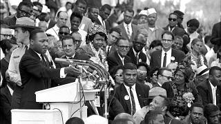 "Martin Luther King Jr prononce son discours ""I have a dream"" le 28 août 1963,"