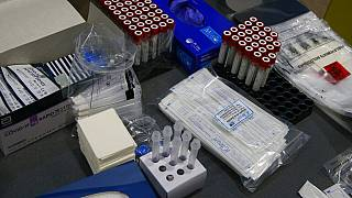 Medical items are pictured at a Covid-19 mass testing center in Roubaix, northern France, Jan.11, 2021.