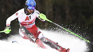 Archives : l'Autrichien Marco Schwarz, lors du slalom organisé à Kitzbühel le 26 janvier 2020 dans le cadre de la Coupe du monde de ski alpin