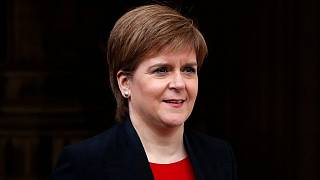 File: Scotland's First Minister Nicola Sturgeon speaks to the media outside the Houses of Parliament in London, Wednesday, April 3, 2019.