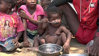 Un enfant malgache devant une assiette vide