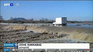 Überflutete Straße in Griechenland.